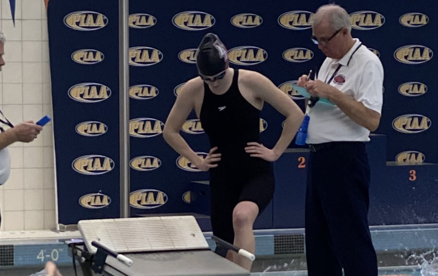 Stewart, a two-time state qualifying swimmer, zooms through the pool — and on her computer.
