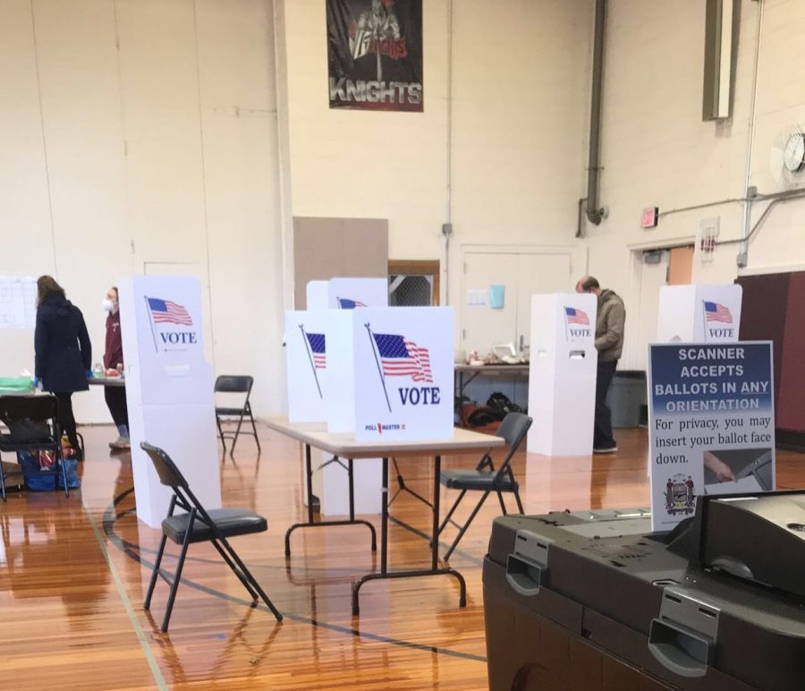 MJ Pennington worked at the polls in Bala Cynwyd Middle School. | Photo courtesy of MJ Pennington '21