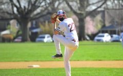 Pitcher Jacob Krimsky '22 loads up for a pitch against Conestoga, continuing to play despite the ever-changing situation surrounding COVID-19. | Picture courtesy of The Enchiridion