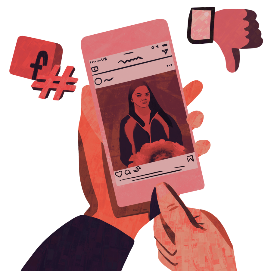 Brandi Levy posted a snapchat message the school considered inappropriate. | Graphic by Emmi Wu '23/Staff