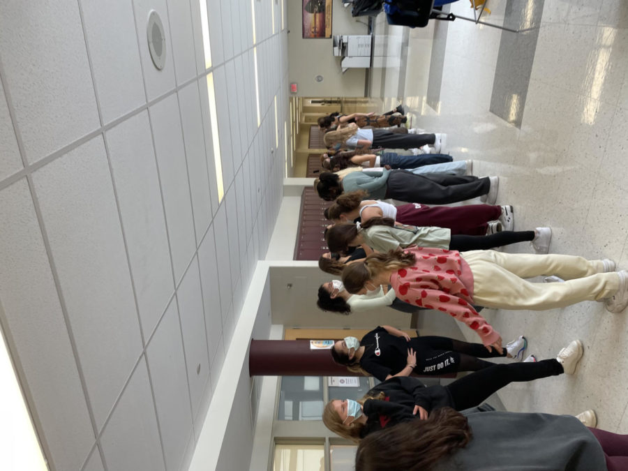 The Dance Team returned to in-person practice in the hallways   Photo courtesy of Inbal David 23